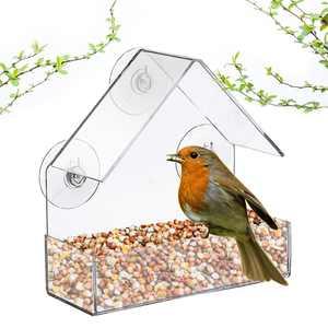 Window Bird Feeder with 3 Strong Suction Cups Acrylic Transparent Bird Feeding Box Food Feeder Removable Birdhouse Indoor Bird Watching