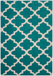 Mainstays Quatrefoil Teal/Ivory 5'x7' Geometric Indoor Area Rug