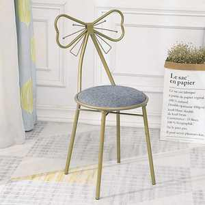 Ktaxon 1pcs Vanity Stool, Makeup Bench Dressing Stool Back Support Wrought Iron Leather Gold Finish Gray Seat