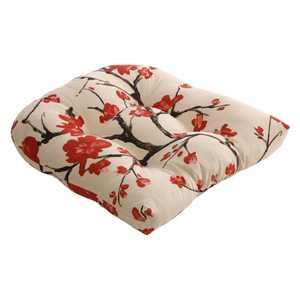 Pillow Perfect Flowering Branch Beige and Red 19 x 19 in. Chair Cushion
