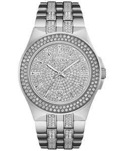 Men's Pavé Crystal Stainless Steel Bracelet Watch 42mm 96B235