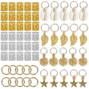 Irfora 80PCS/Set Dreadlocks Beads Metal Cuffs Hair Braid Rings Pendants Braiding Clips Hair Decorations DIY Braids Accessories