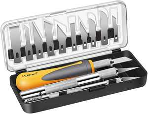 MulWark 16pc Precision Craft Hobby Exacto Knife Set Kit, Sharp Scalpel Razor Xacto Knives Tool for Art, Architecture Modeling, Scrapbooking Felt&Wood&Leather Working-Stencil, Scoring, Chiseling Blades