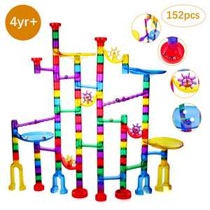Marble Run Toy, 152Pcs Educational Construction Maze Block Toy Set with Glass Marbles for Kids and Parent-Child Games