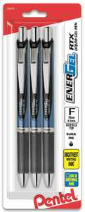Pentel EnerGel RTX Gel Pen, (0.5mm) Needle Tip, Black Ink 3pk