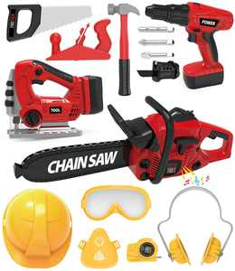 Exercise N Play Power Tool Play Set W/ Electric Toy Drill Chainsaw Jigsaw Toy