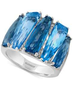 EFFY Blue Topaz (8-7/8 ct. t.w.) and Diamond Accent Ring in 14k White Gold