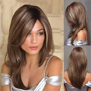 FollureWomen's Fashion Wig Gold Synthetic Hair Long Wigs Wave Curly Wig