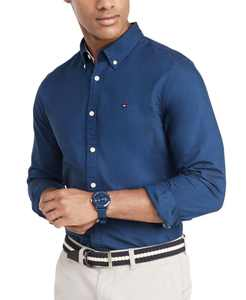 Men's Custom Fit New England Solid Oxford Shirt, Created for Macy's