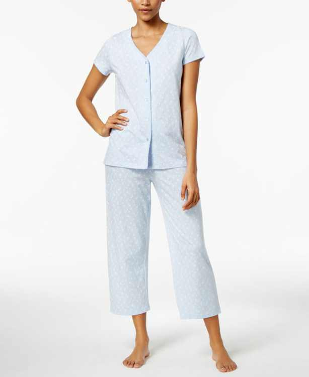 Short Sleeve Top and Cropped Pant Cotton Pajama Set, Created for Macy's