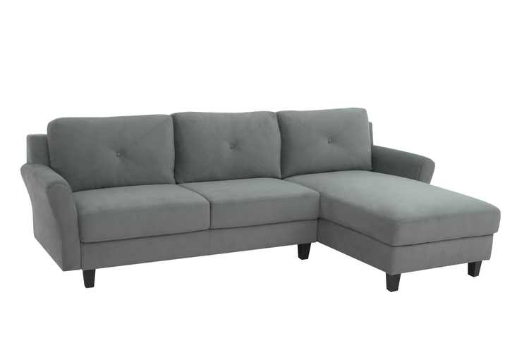 Lifestyle Solutions Taryn 3 Seat Upholstered Microfiber Rolled Arm Sectional Sofa