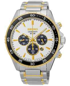 Men's Solar Chronograph Two-Tone Stainless Steel Bracelet Watch 44mm SSC446