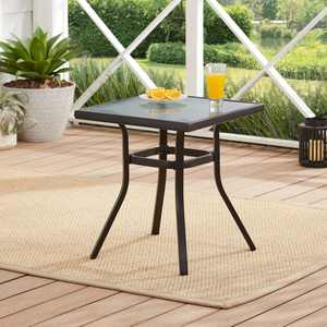 Mainstays Heritage Park Outdoor Square Steel Side Table, Black/Clear