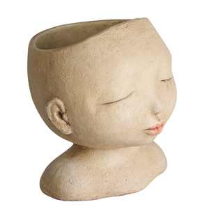 """Art & Artifact Head of a Lady Indoor/Outdoor Planter - Handpainted Zen Buddha Face of Resin - Plants Look Like Hair, 9"""" Tall"""
