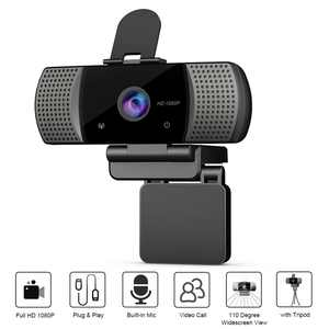 Full HD 1080P Wide Angle USB Webcam USB 2.0 Drive-Free With Mic Web Cam Laptop Online Teaching Conference Live Streaming Video Calling Web Cameras Anti Peeping Webcam