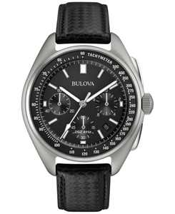 LIMITED EDITION Men's Special Edition Lunar Pilot Chronograph Black Leather Strap & Nylon Strap Watch 45mm 96B251