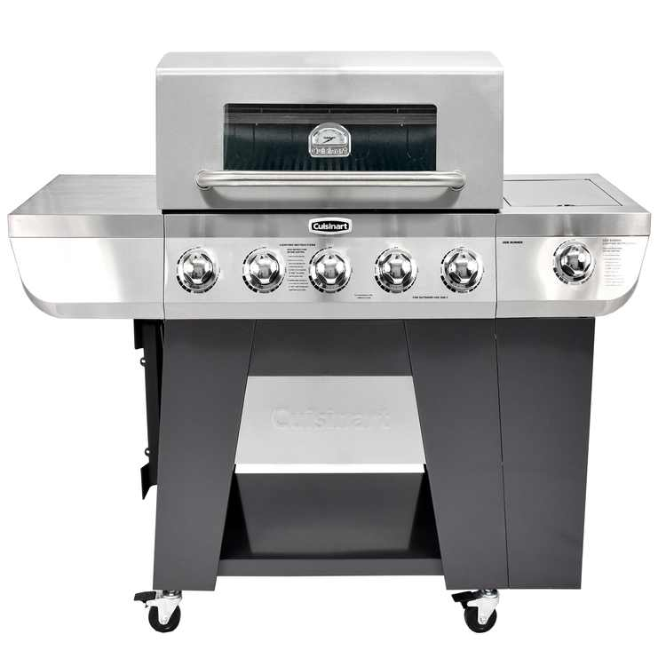 Cuisinart 3-In-1 Stainless Five-Burner Propane Gas Grill with Side Burner