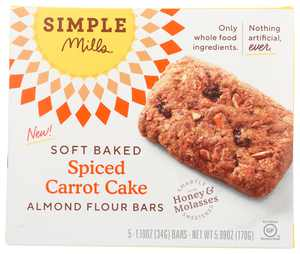 Simple Mills Soft Baked Carrot Cake Bar, 5.99 Oz