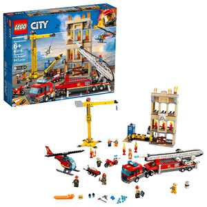 LEGO City Fire Downtown Fire Brigade 60216 Firetruck and Helicopter Rescue Toy
