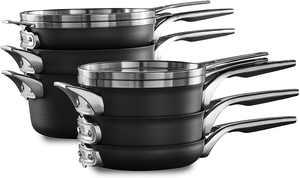 Calphalon Premier Space-Saving Hard-Anodized Nonstick Cookware, 10-Piece Set