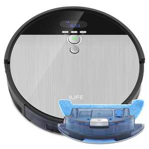ILIFE V8s-W, Robot Vacuum and Mop 2 in 1, Route Planning, Tangle Free for Pet Hair, XL 750ml Dustbin