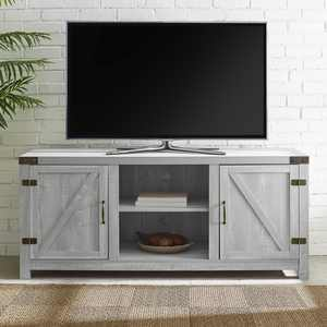 """Woven Paths Modern Farmhouse Barn Door TV Stand for TVs up to 65"""", Stone Grey"""