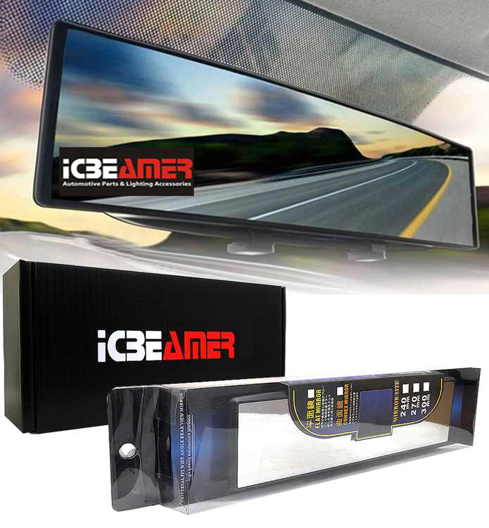 """ICBEAMER 10.6"""" 270mm Easy Clip on Universal Fit Wide Angle Panoramic Auto Interior Rearview Mirror """"Flat Clear Surface"""""""