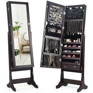 Costway Lockable Mirrored Jewelry Cabinet Armoire Organizer Storage with Stand & LED Lights