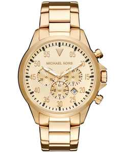 Men's Chronograph Gage Gold-Tone Stainless Steel Bracelet Watch 45mm MK8491