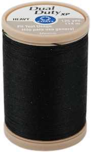 Coats & Clark Dual Duty XP Heavy Black Polyester Sewing Thread, 125 Yards