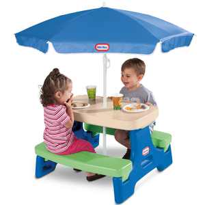 Little Tikes Easy Store Jr. Picnic Table with Umbrella, Blue & Green - Play Table with Umbrella, for Kids