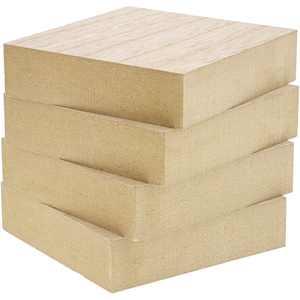 Unfinished Mdf Wood Blocks for Diy Crafts (4 Pack)
