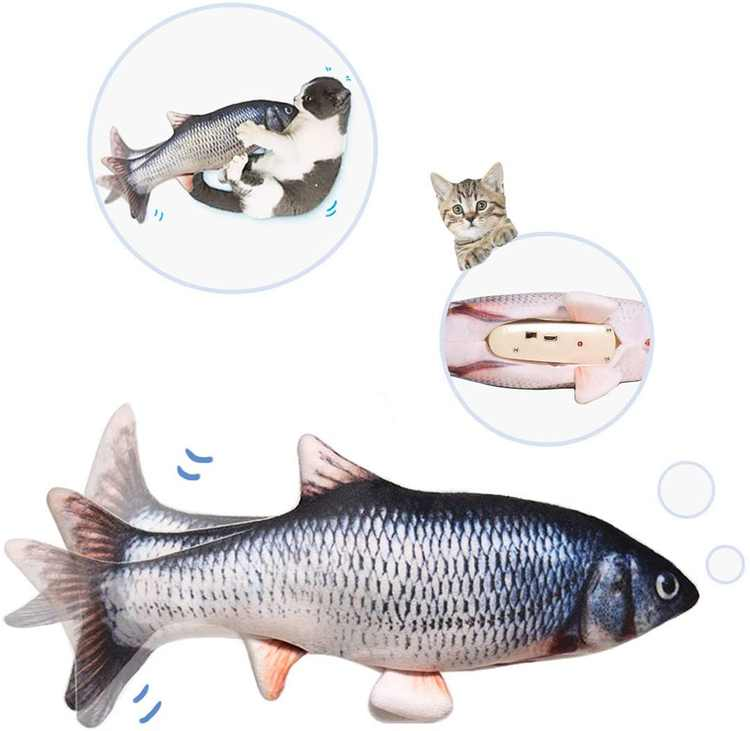 """10"""" Electric Flopping Cat Kicker Fish Toy, Realistic Moving Fish, Wiggle Fish Toys, Motion Kitten Toy, Plush Interactive Cat Toys, Fun Toy for Cat Exercise, Cat-Fish-Toy-Kitty-Interactive"""