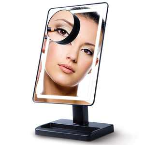 Lighted Vanity Makeup Mirror with 10x Magnification Cosmetic Face Mirror with Light LED Soft-Light Cordless (Black)