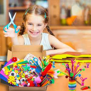 Assorted Arts and Crafts Supplies for Kids Girls Ages 4 5 6 7 8 9 Pipe Cleaners,Pom poms Craft Art Sets,All in One D.I.Y.Crafting Collage Arts Pack,Crafts Set for School Projects DIY Activities