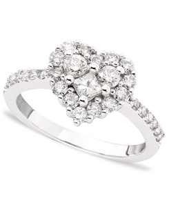 Classique by EFFY Diamond Heart Ring (9/10 ct. t.w.) in in 14k White, Yellow, or Rose Gold
