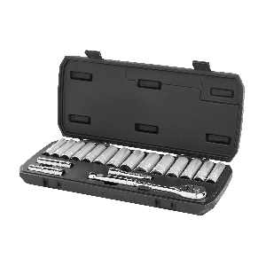 HART 18-Piece 3/8-inch Drive Deep Socket Set with Ratchet, Chrome