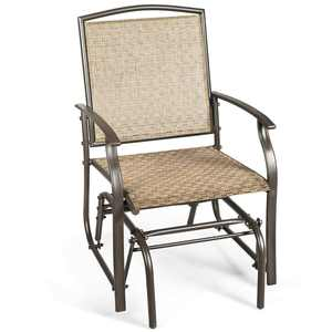 Costway Patio Swing Single Glider Chair Rocking Seating Steel Frame Garden Furni Brown