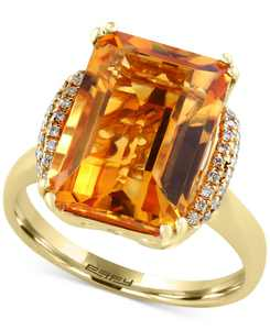 Sunset by EFFY Citrine (7-1/5 ct. t.w.) and Diamond (1/8 ct. t.w.) Statement Ring in 14k Gold