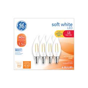 GE LED 3.5-Watt (40W Equivalent) Soft White Decorative Light Bulbs, Clear Finish, Small Base, Dimmable, 4pk