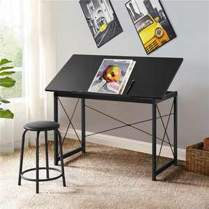 SmileMart Adjustable Drafting Table Tilting Tabletop Drawing table With Pencil Ledge,Black