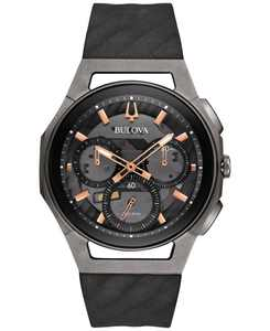 Men's Chronograph CURV Black Rubber Strap Watch 44mm 98A162