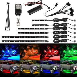 18 Multi Color Flexible Strip RGB Motorcycle Car ATV LED Light Lamp NEON with Wireless Remote