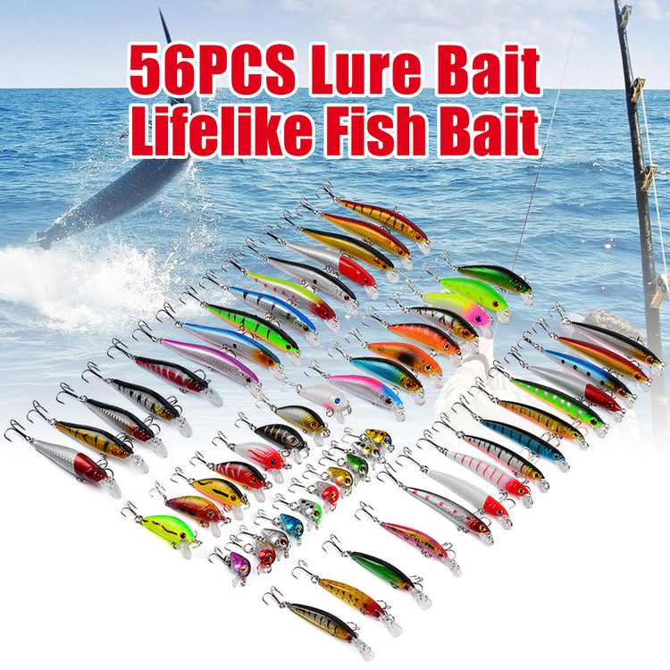 56-Piece Assorted Fishing Lure Set, Adaptable for Mixed, Minnow, Bass, Crankbait, Treble, Hooks with Box for Freshwater, Trout, Bass, Salmon