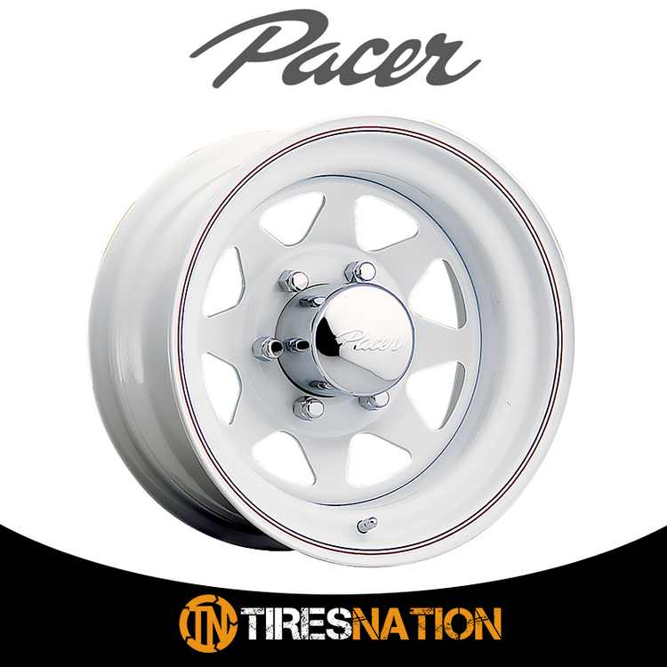 (1) Pacer 603310W WHITE SPOKE 15X7 5X4.50 83.82 Hub -06 Offset White Wheel Rim