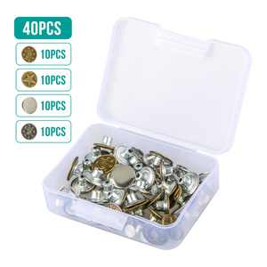 40 Sets Jeans Button Tack Buttons Metal Button Snap Buttons Replacement Repair Kit with Plastic Storage Box, 4 Styles