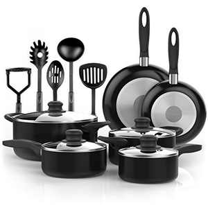 Vremi 15 Piece Nonstick Cookware Set (Black and White)