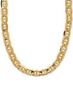 """22"""" Beveled Marine Link Chain Necklace (7-1/5mm) in 10k Gold"""