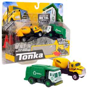 Tonka Metal Movers Combo Pack, Garbage Truck & Cement Mixer