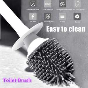 1 Pack Wall Mounted & Floor-Standing TPR  Soft Silicone Toilet Brush and Holder Set,Bathroom Cleaning Set With Hollow Base Toilet Storage Caddy